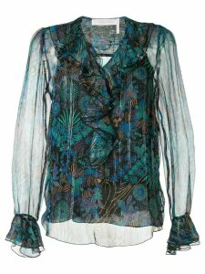 See By Chloé ruffled neck printed blouse - Multicolour