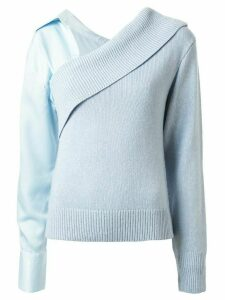 Hellessy off shoulder detachable sleeve sweater - Blue