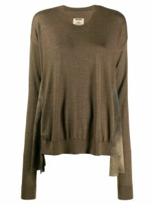 Uma Wang long-sleeve flared jumper - Brown