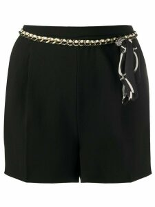 Elisabetta Franchi front pleated chain belt shorts - Black