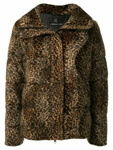 Unreal Fur leopard print puffer jacket - Brown