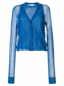 Helmut Lang sheer panel cardi-top - Blue
