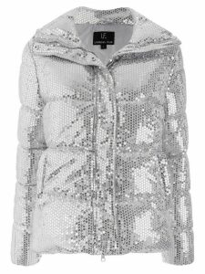 Unreal Fur sequin embellished padded jacket - SILVER
