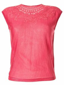 Giambattista Valli embroidered neck T-shirt - PINK