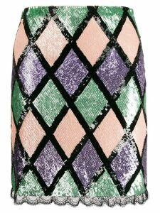 Blumarine argyle pattern sequin skirt - Black