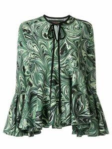 Romance Was Born Marble Haze ruffle blouse - Green