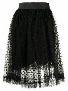 Dolce & Gabbana pleated lace midi skirt - Black