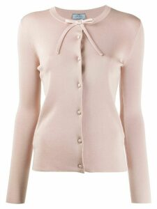 Prada shoulder bow cardigan - PINK