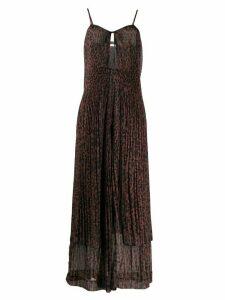ROTATE leopard-print pleated chiffon dress - Brown