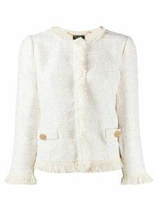 LIU JO fringed trim tweed jacket - White