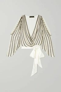 Jenny Packham - Cutout Satin-trimmed Embellished Chiffon Wrap Blouse - White
