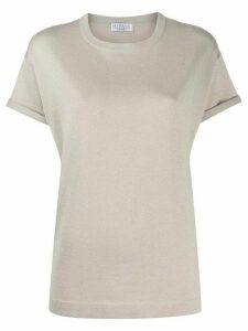 Brunello Cucinelli relaxed-fit knitted T-shirt - NEUTRALS