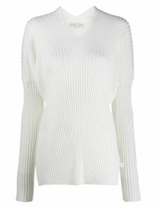 Bottega Veneta v-neck ribbed jumper - White