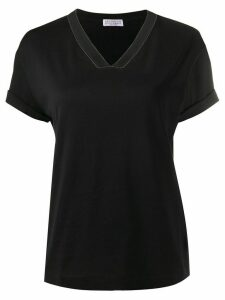 Brunello Cucinelli bead-detail v-neck T-shirt - Black