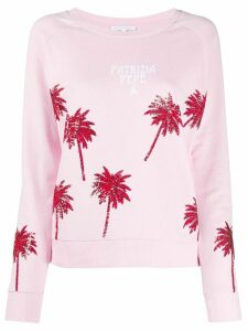 Patrizia Pepe sequin palm tree sweatshirt - PINK