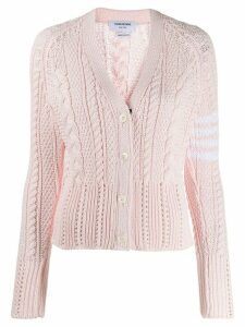 Thom Browne 4-Bar Aran Cable V-Neck Cardigan - PINK