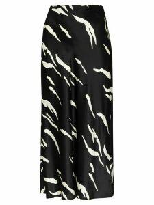Reformation Pratt graphic-print silk-satin midi skirt - Black