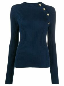 Patrizia Pepe ribbed stretch fit jumper - Blue