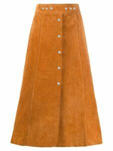 Prada A-line suede midi-skirt - Brown