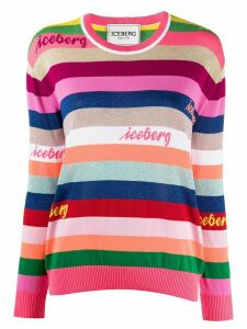 Iceberg logo embroidered striped jumper - PINK