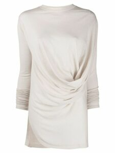 Rick Owens long-sleeved draped top - NEUTRALS