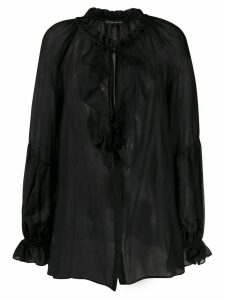 Etro sheer ruffled blouse - Black