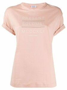 Brunello Cucinelli slogan print round neck T-shirt - PINK