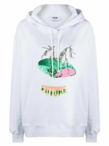 MSGM sequin embellished hoodie - White