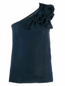 Emporio Armani asymmetric ruffle top - Blue