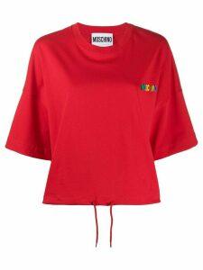 Moschino rubber logo drawstring T-shirt - Red