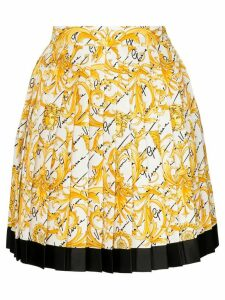 Versace pleated baroque-print silk skirt - White