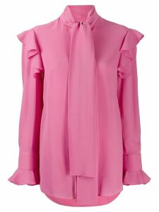 Alexander McQueen georgette pussybow ruffled blouse - PINK