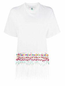 Mira Mikati beaded fringed T-shirt - White
