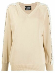 Boutique Moschino lace-embellished relaxed-fit jumper - NEUTRALS