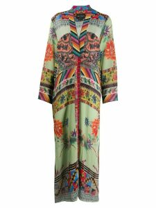 Etro silk patchwork print coat - Green