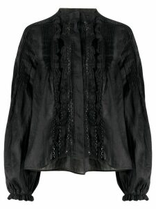 Isabel Marant ruffle trim oversized blouse - Black