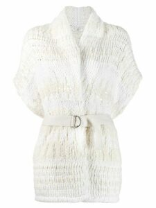 Brunello Cucinelli belted cardigan - White