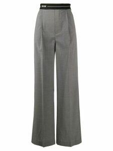 MSGM logo tape waistband trousers - Grey