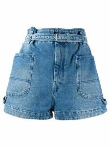Isabel Marant paperbag waist denim shorts - Blue