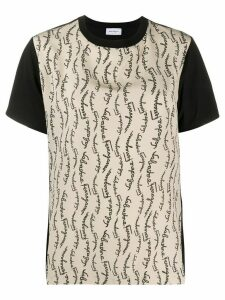 Salvatore Ferragamo logo print panelled T-shirt - Black
