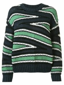 Coohem knitted club stripe jumper - Blue