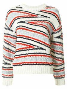 Coohem Club Stripe intarsia knit jumper - White