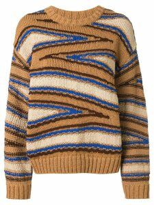 Coohem knitted club stripe jumper - Brown