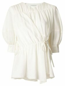 Goen.J multi-directional ruched blouse - White