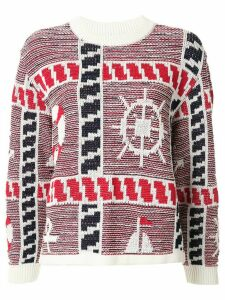 Coohem knitted marin motif jumper - White