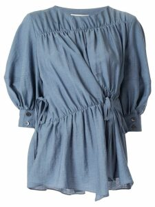 Goen.J multi-directional ruched blouse - Blue