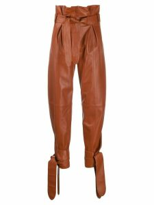 The Attico high waisted knot detail pants - Brown