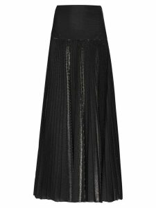 Alexandre Vauthier metallic detail pleated maxi skirt - Black