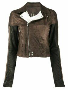 Rick Owens metallic biker jacket - Brown