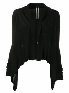 Rick Owens asymmetric hem distressed cardigan - Black